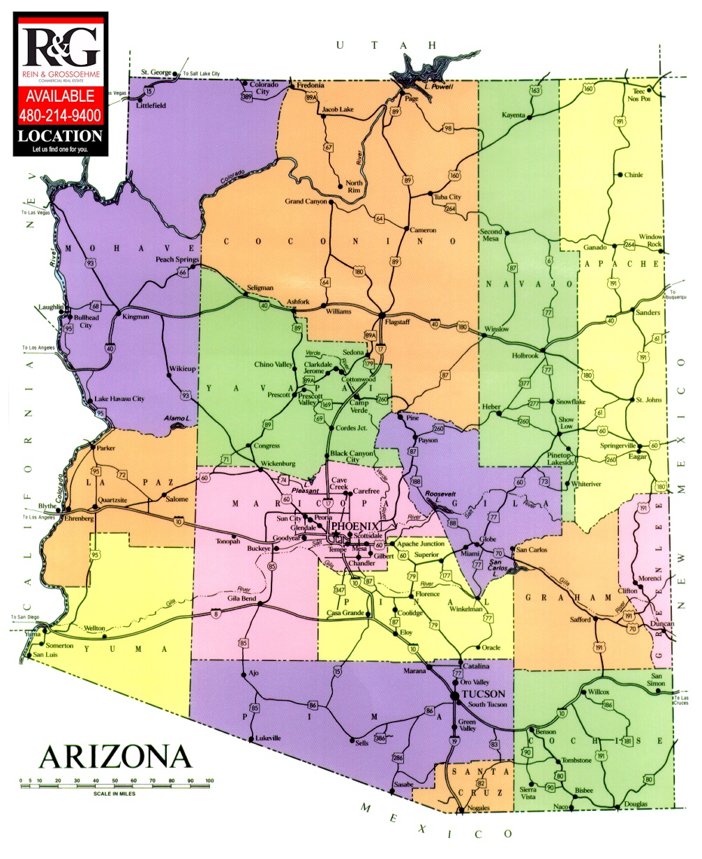 State Of Arizona Map REIN GROSSOEHME Commercial Real Estate - State of arizona map